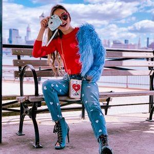 Blue Cropped Shaggy Faux Fur Jacket